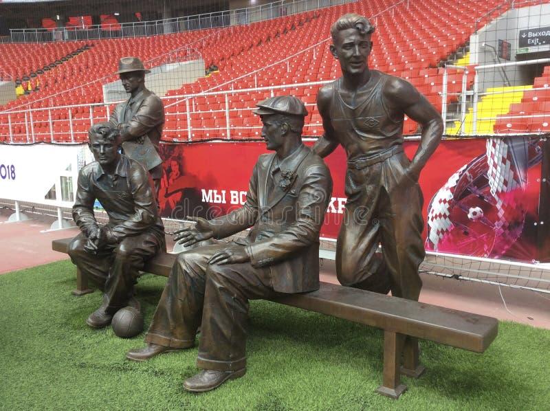 Monumento no estádio de Spartak da arena de Otkritie moscow foto de stock royalty free