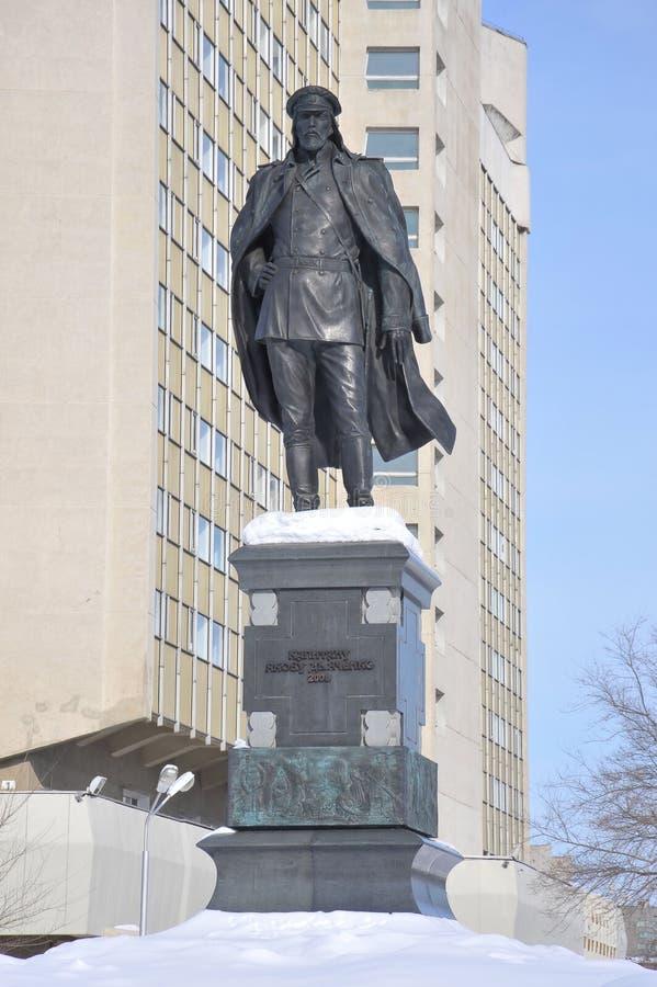 Monumento para captain a Yakov Dyachenko, Jabárovsk, Rusia, el Extremo Oriente foto de archivo