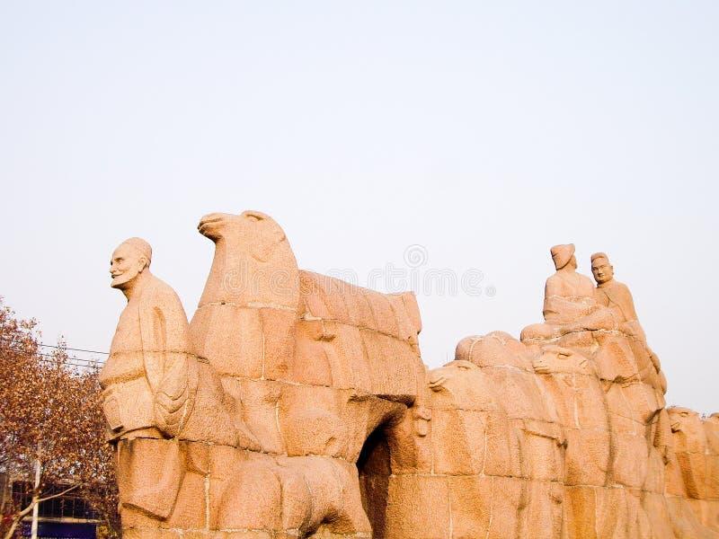 Monumento para o ponto de partida da Rota da Seda, Xi `, China imagens de stock royalty free
