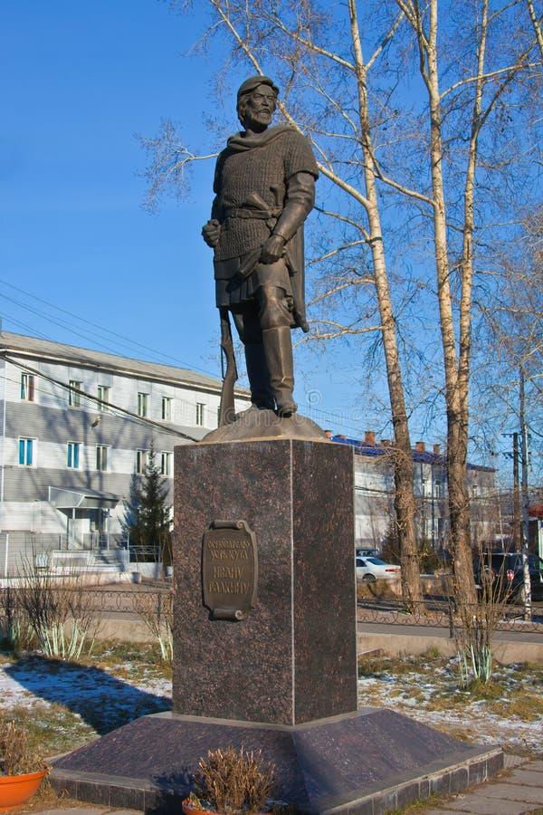 Monumento para promover a Ivan Galkin, el fundador de Ust-Kut fotos de archivo