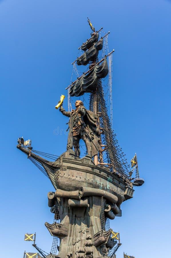 Monumento a Peter el grande en Moscú fotos de archivo