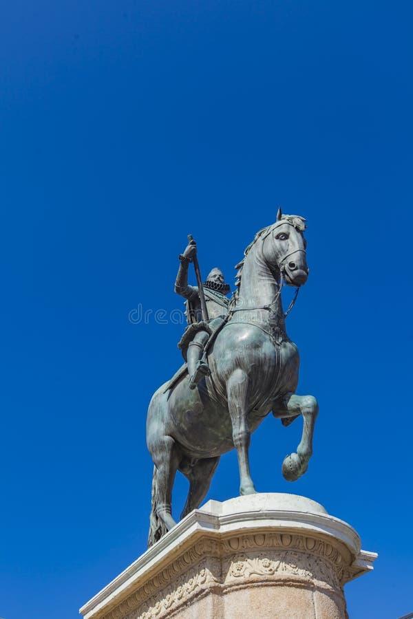 Monumento a Philip III della Spagna al sindaco della plaza di Madrid fotografie stock