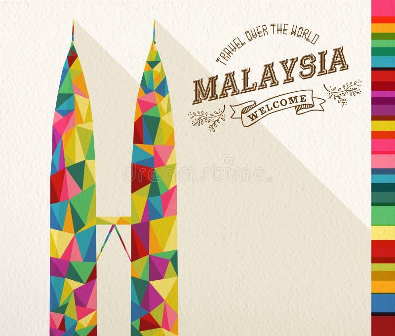 Monumento poligonale del punto di riferimento della Malesia di viaggio royalty illustrazione gratis