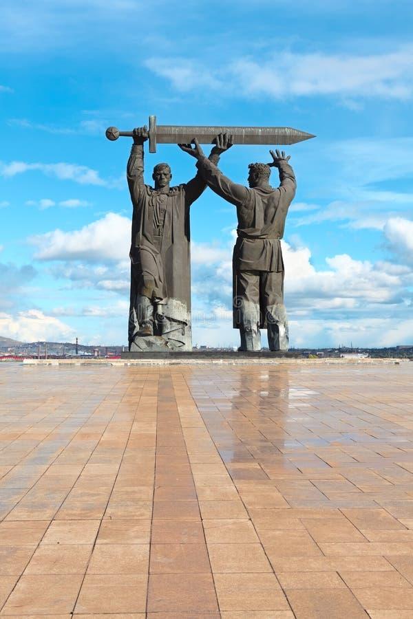 Monumento Posteriore-fronte in Magnitogorsk, Russia fotografia stock