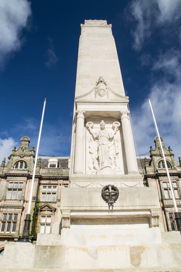 Monumento Preston, Inglaterra de la guerra. imagen de archivo