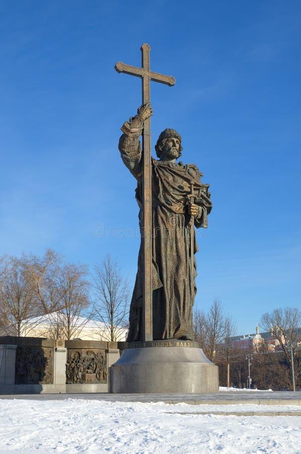 Monumento a principe Vladimir a Mosca, Russia immagine stock