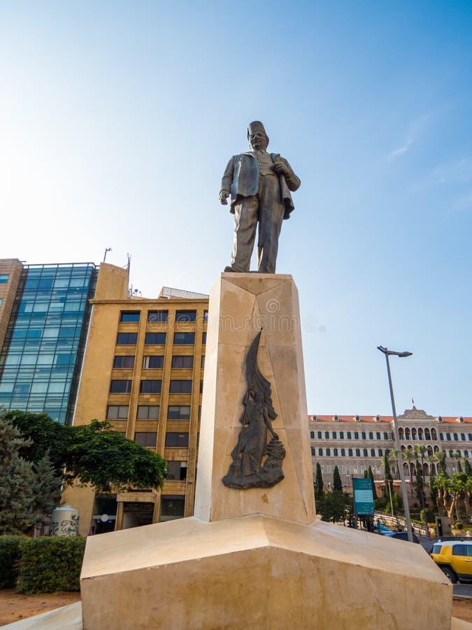 Monumento a Riad Al Solh en Beirut, Líbano foto de archivo