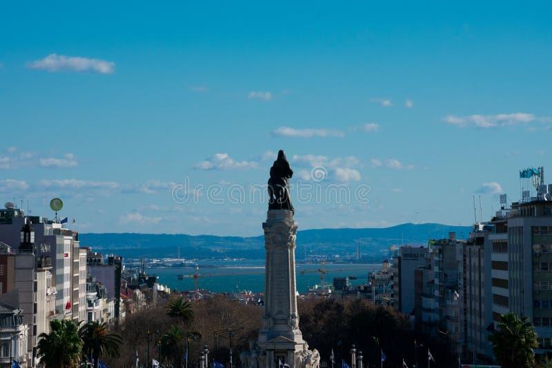 Monumento a Sebastiao Jose de Carvalho e Melo, primer marqués de Pombal foto de archivo