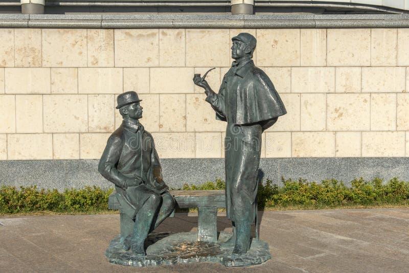 Monumento a Sherlock Scholms y al doctor Watson fotos de archivo libres de regalías