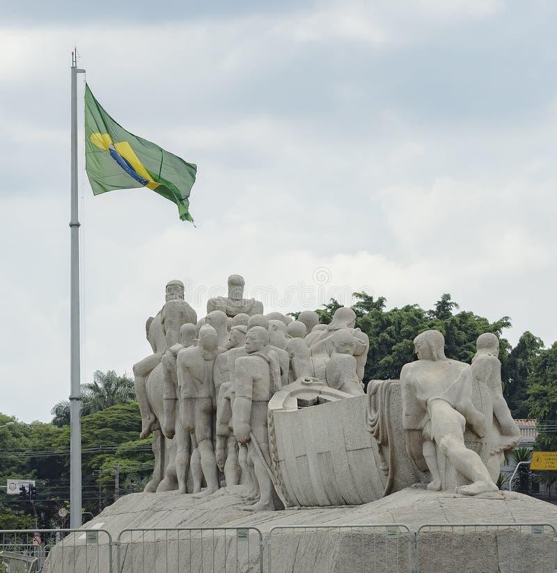 Monumento som Bandeiras, Sao Paulo SP Brasilien royaltyfria bilder