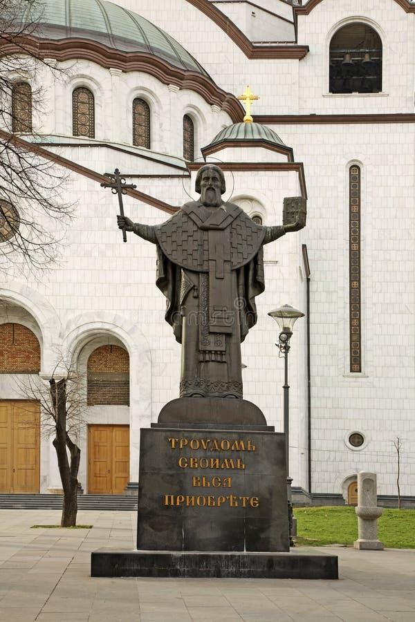 Monumento a St Sava cerca de la catedral del santo Sava en Belgrado serbia imagenes de archivo