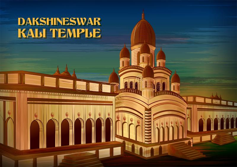 Monumento storico Dakshineswar Kali Temple in Calcutta, il Bengala Occidentale, India illustrazione vettoriale