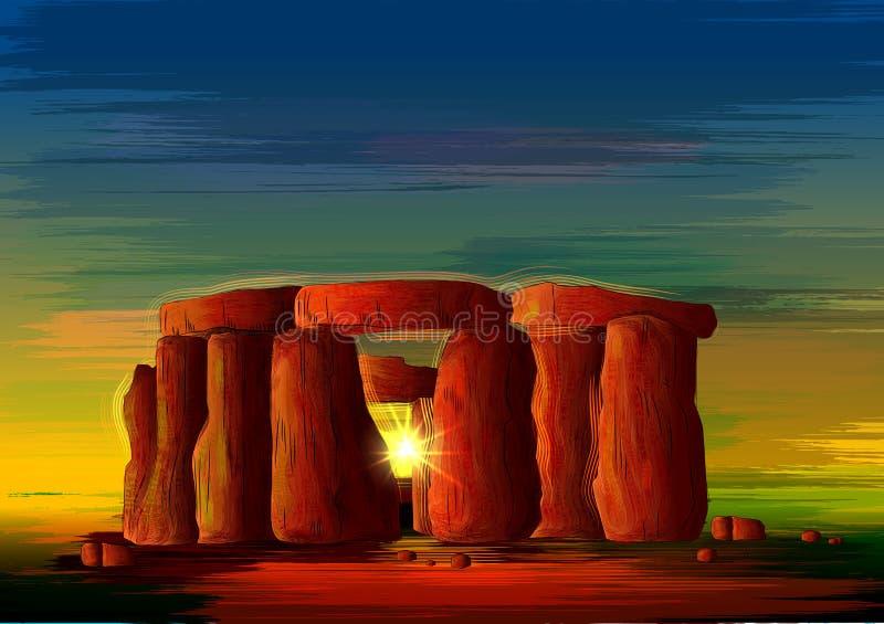 Monumento storico di fama mondiale di Stonehenge del Wiltshire, Inghilterra illustrazione vettoriale