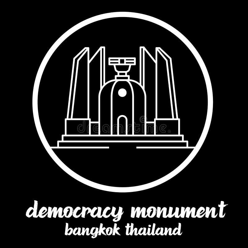 Monumento Tailândia da democracia do ícone do círculo s?mbolo do sinal Ilustra??o do vetor ilustração do vetor