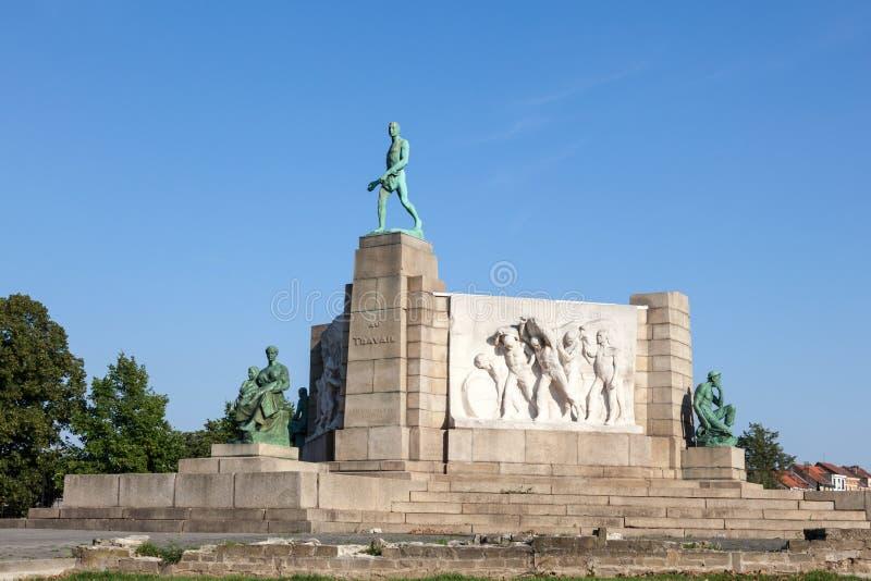 Monumento a trabalhar em Bruxelas, Bélgica imagens de stock royalty free