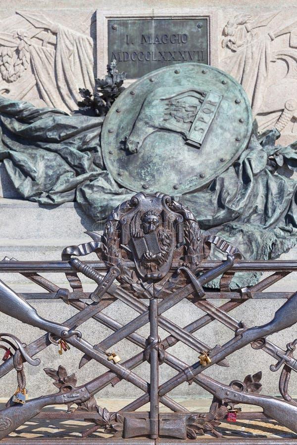 Monumento a Victor Emmanuel II, primer rey de Italia unida, detalles, Venecia, Italia imagen de archivo