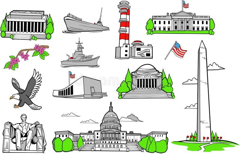 Monumentos americanos fijados stock de ilustración