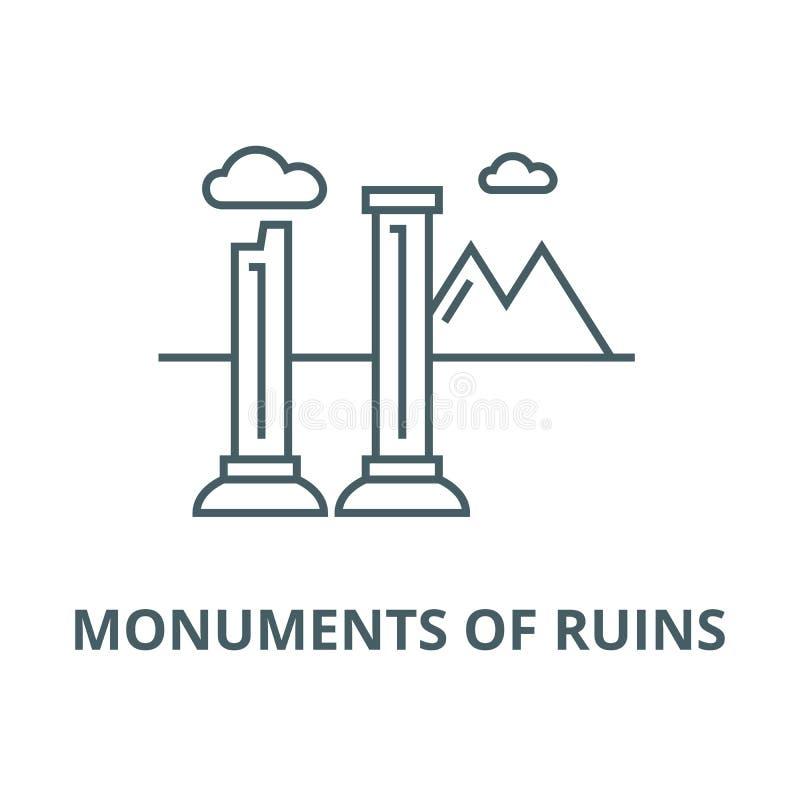 Monumentos da linha ícone do vetor das ruínas, conceito linear, sinal do esboço, símbolo ilustração do vetor