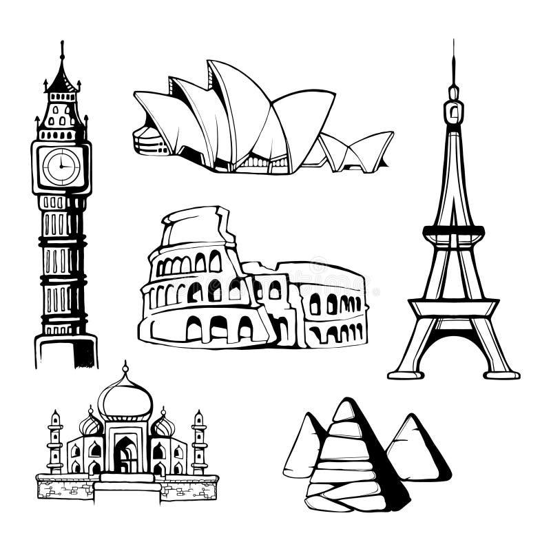Monumentos de la arquitectura ilustración del vector