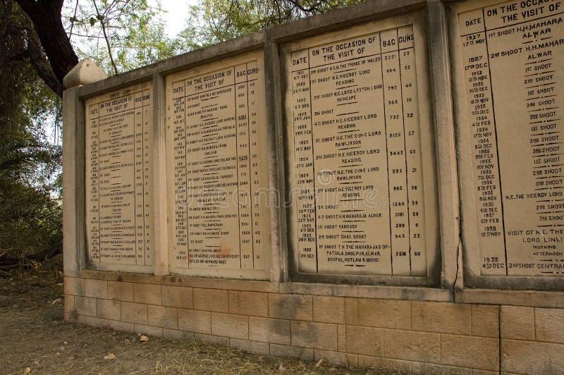 Monumentos de los números de tiro de pájaros en Bharatpur, la India foto de archivo libre de regalías