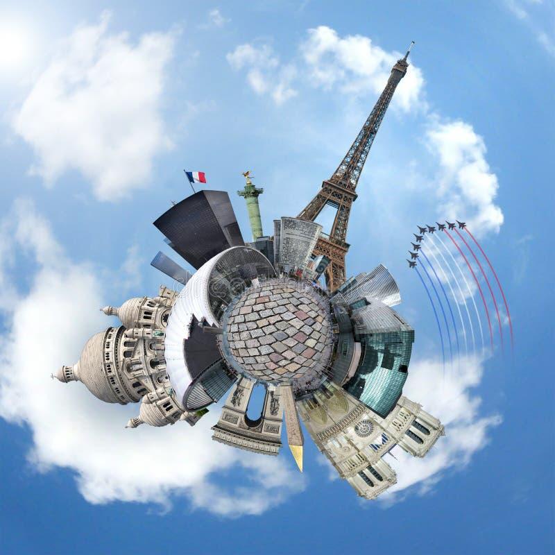 Monumentos de París en un planeta - concepto del recorrido fotografía de archivo