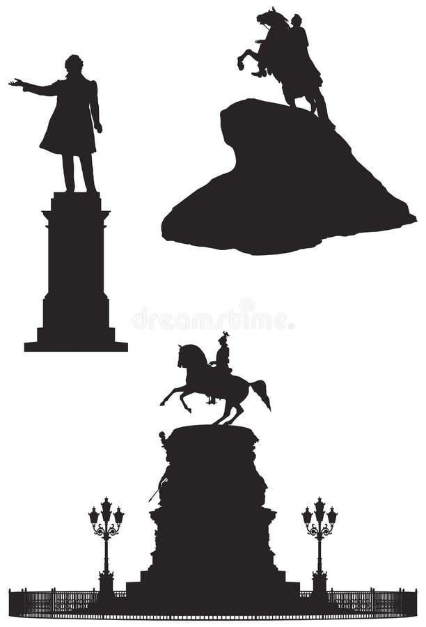 Monumentos de St Petersburg, marcos do russo ilustração stock