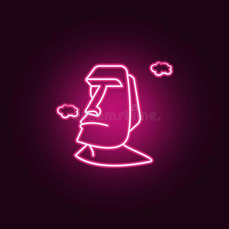 Monumentos del icono de neón de Moai Elementos del sistema del viaje Icono simple para las páginas web, diseño web, app móvil, gr libre illustration