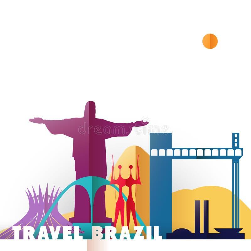 Monumentos del mundo del corte del papel del Brasil del viaje stock de ilustración