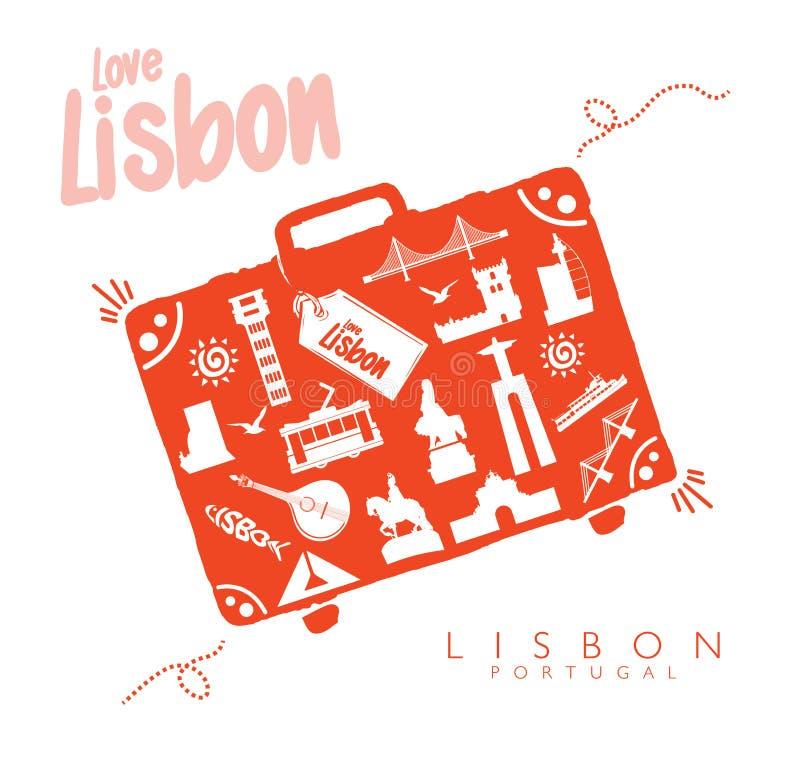 Monumentos del viaje de Lisboa de la maleta en Lisboa stock de ilustración
