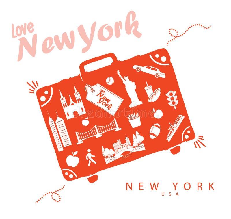 Monumentos del viaje de Nueva York de la maleta en Nueva York los E.E.U.U. libre illustration