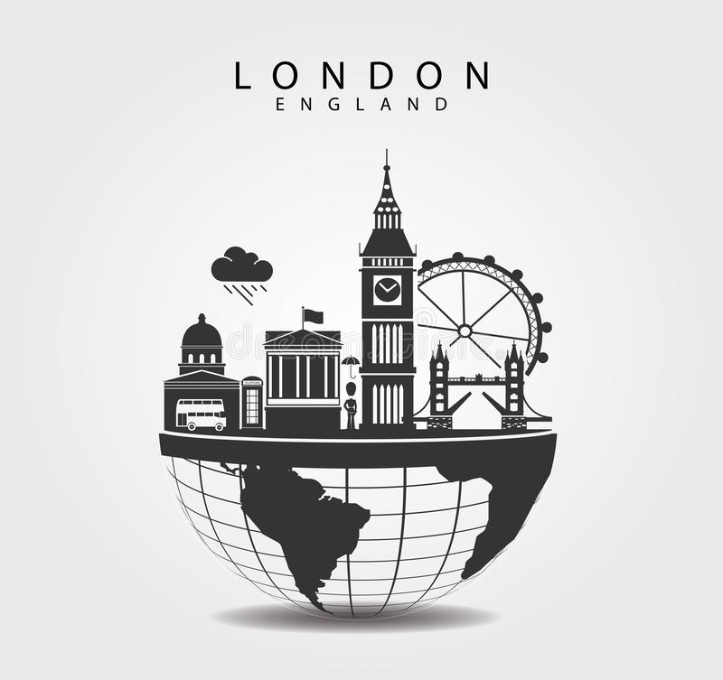 Monumentos del viaje en Londres Inglaterra Tapa del mundo ilustración del vector