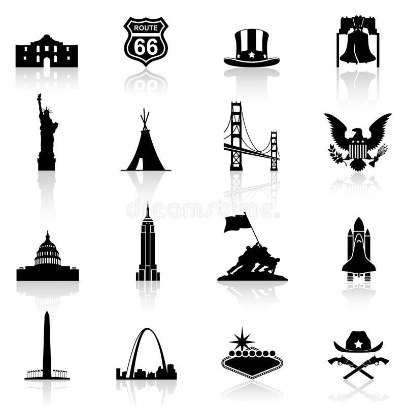 Monumentos e iconos famosos de la cultura americana ilustración del vector
