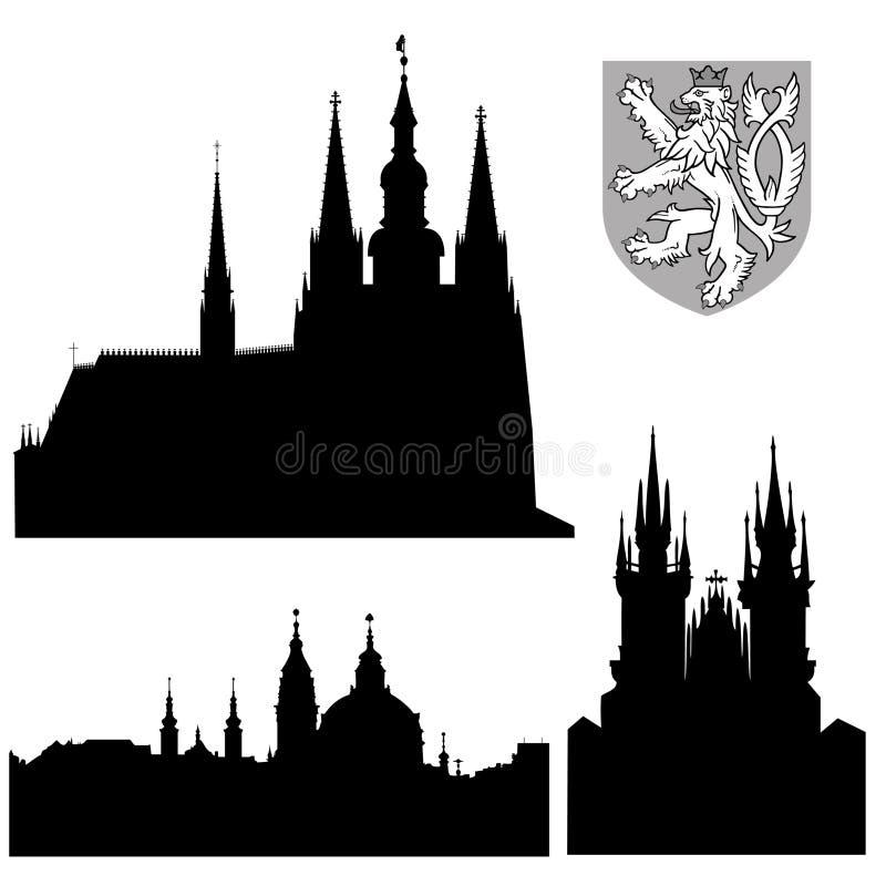 Monumentos famosos de Praga ilustração royalty free
