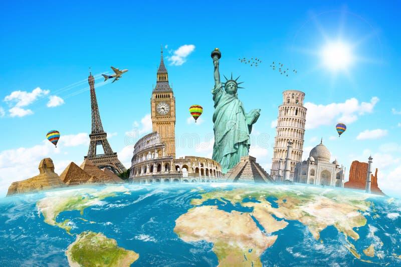 Monumentos famosos del mundo stock de ilustración