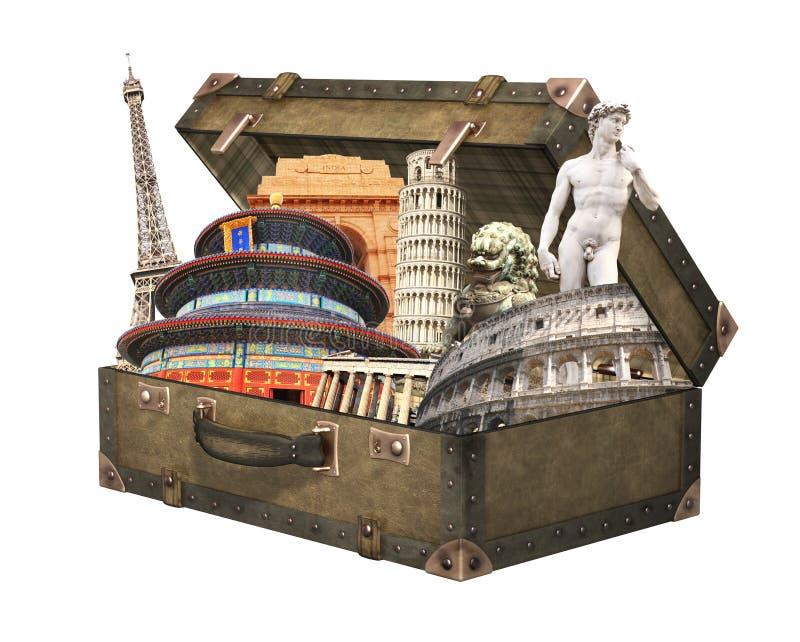Monumentos famosos del mundo en maleta del vintage imagen de archivo