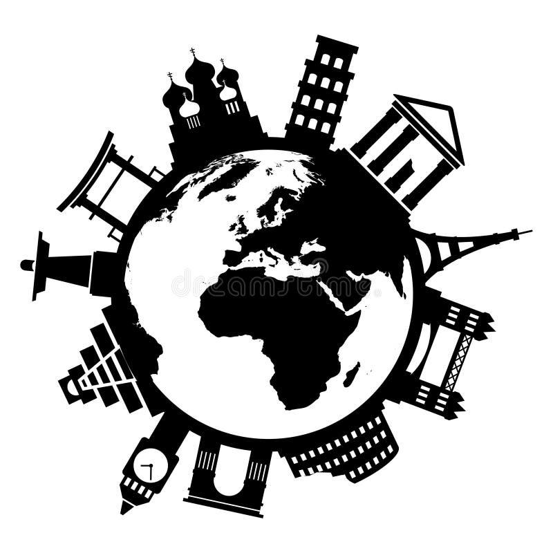 Monumentos famosos del viaje alrededor del mundo ilustración del vector