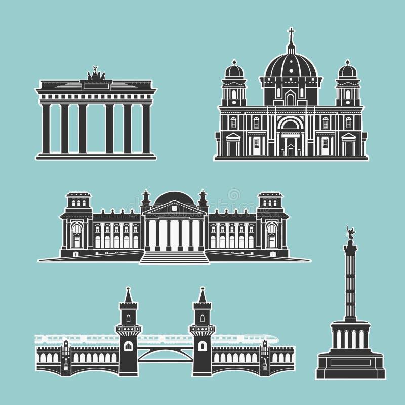 Monumentos históricos alemanes de la arquitectura ilustración del vector