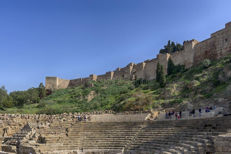 Monumentos na Andaluzia, o Alcazaba de Malaga fotos de stock royalty free