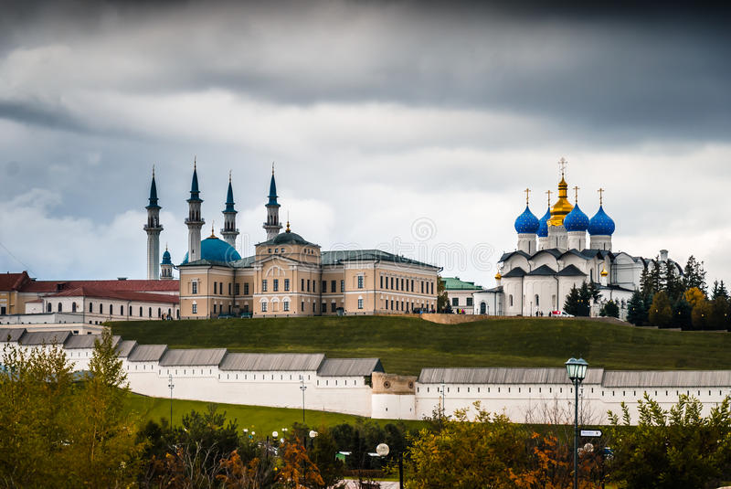 Monuments of ancient complex. View behind walls of ancient complex of Kazan Kremlin and its monuments royalty free stock images
