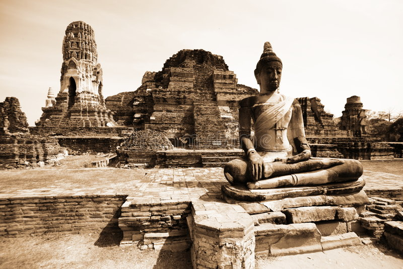Monuments Of Buddah, Ruins Of Ayutthaya Royalty Free Stock Photo
