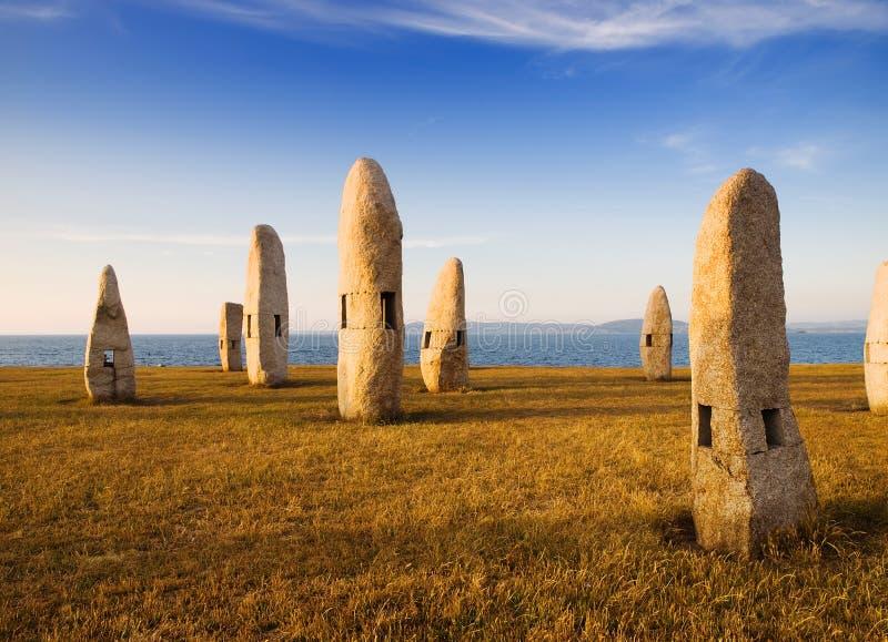 Monuments celtiques dans un Coruna, Galicie, Espagne image stock