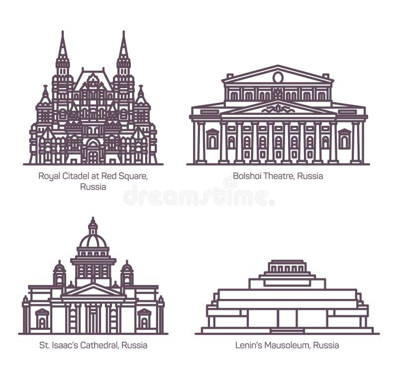 Monuments de l'architecture russe dans la ligne mince illustration de vecteur