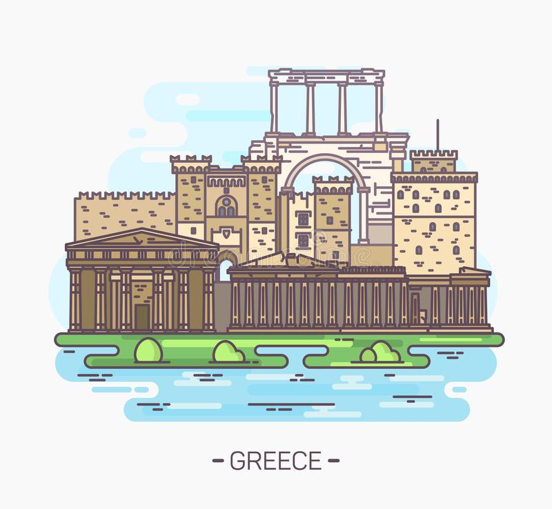 Monuments et points de repère grecs Acropole, parthenon illustration stock