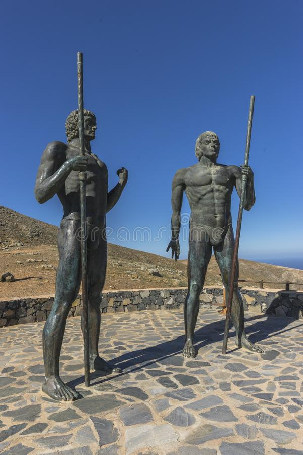 Statue in Fuertaventura Island. Monuments in the mountains on Furtaventura Islands , Canry Islands , Spain . Europe. Former kings of Fuerteventura royalty free stock photography