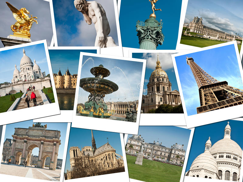 Monuments of Paris. Instant pictures collage stock photography