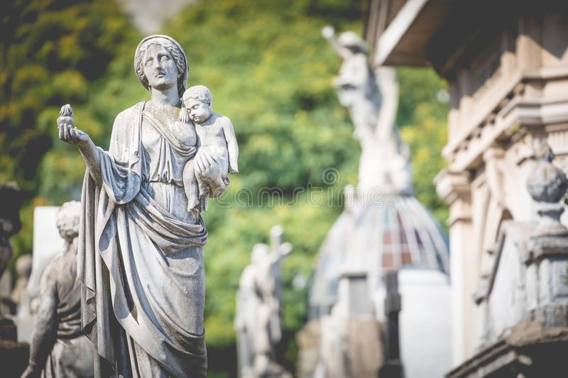 Monuments at Recoleta Cemetery, a public cemetery in Buenos Aires, Argentina. royalty free stock photos