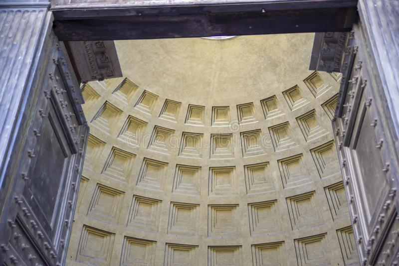 Monuments in Rome, Italy. Entrance of the famous pantheon stock photo