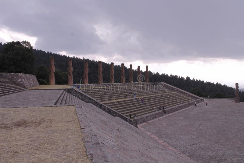 Monuments at the top of the stairs, Centro Ceremonial Otomi in Estado de Mexico. side view. This monuments at the top of the stairs and benches are located at stock photo