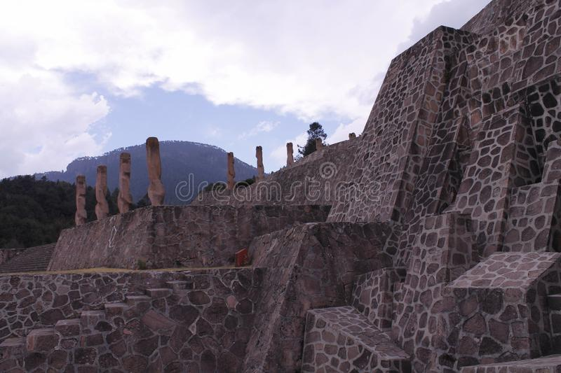 Monuments and stairs, Centro Ceremonial Otomi in Estado de Mexico. side view. This monuments at the top of the stairs are located at one side of the square of stock image