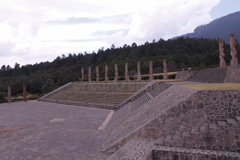 The other side of monuments on top of stairs, Centro Ceremonial Otomi in Estado de Mexico. side view. This monuments at the top of the stairs are located at one stock images